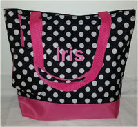 Personalized Small Polka Dot Print Canvas Bag - with bonus purse