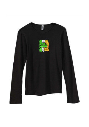 Irish Flag Embroidered Long Sleeve Tee