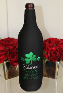 Custom Embroidered Wine Bottle Zip Koozie