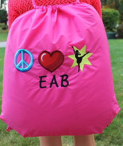 Peace Love Dance Large Cinch Sack
