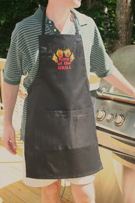 "Big Accessories Embroidered ""King of the Grill"" Apron"