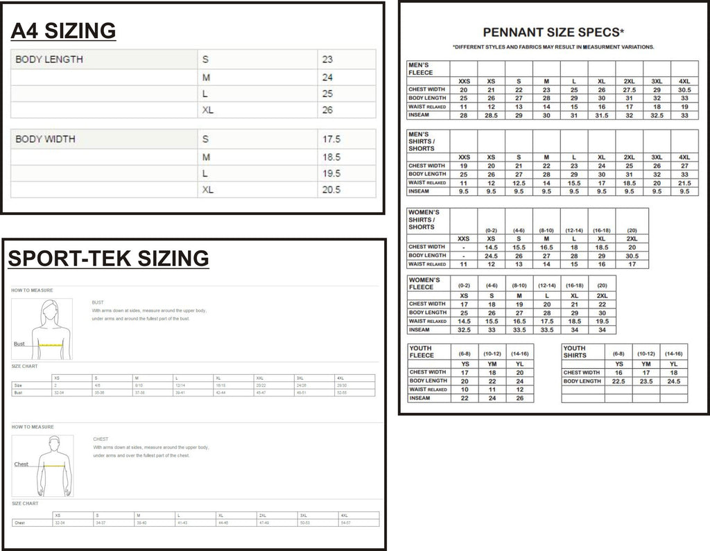 SIZING INFORMATION BY VENDOR