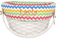 Personalized Wicker Basket with Chevron Lining