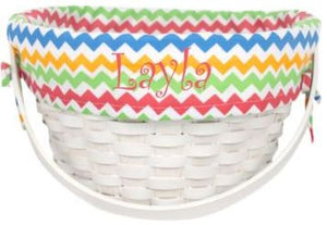 Personalized Wicker Basket with Chevron Lining - FigWear