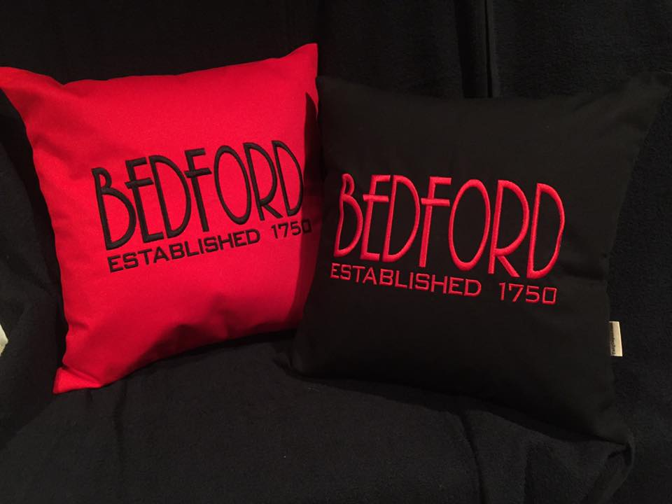 "Custom Embroidered 14"" Square Town Established Pillows"