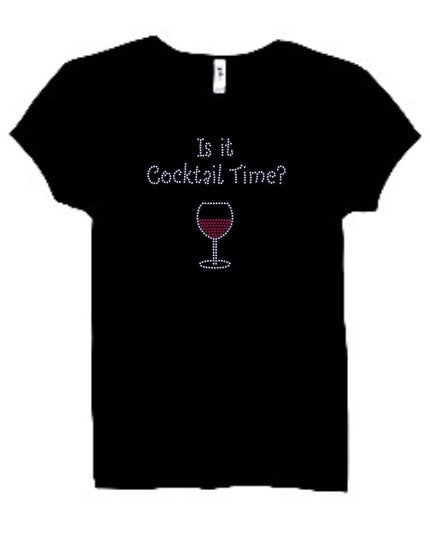'Is It Cocktail Time?' Rhinestone Tee