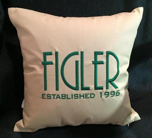 "Custom Embroidered 14"" Square Family Established Pillows"