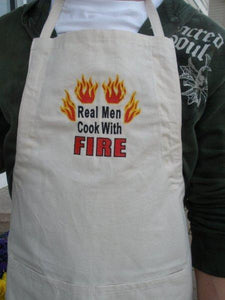 Real Men Cook With Fire Embroidered Apron