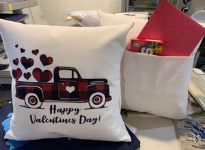 Red Truck Valentine's Pillow