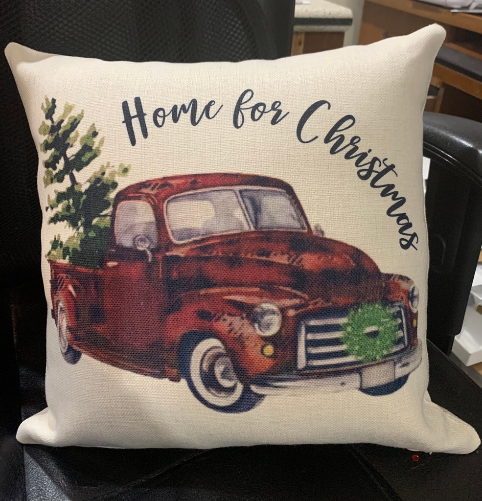 Home for Christmas Linen Pillow
