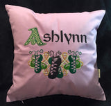 "Custom Embroidered 14"" Square Irish Step Dance Pillow"
