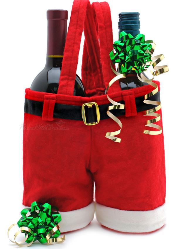 Custom Embroidered Santa Pants Wine Bottle Bag