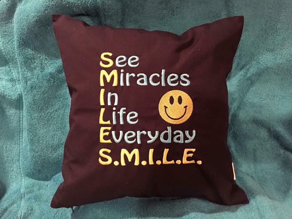 "Custom Embroidered 14"" Square SMILE Pillows"