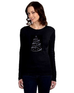 Ladies Rhinestone Christmas Long Sleeve Tees
