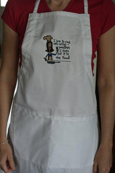 "Big Accessories Embroidered ""I love to cook with Wine..."" Apron"