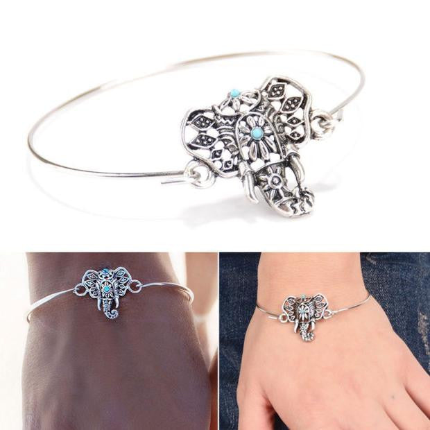 Silver and Turquoise Bead Elephant Bracelet