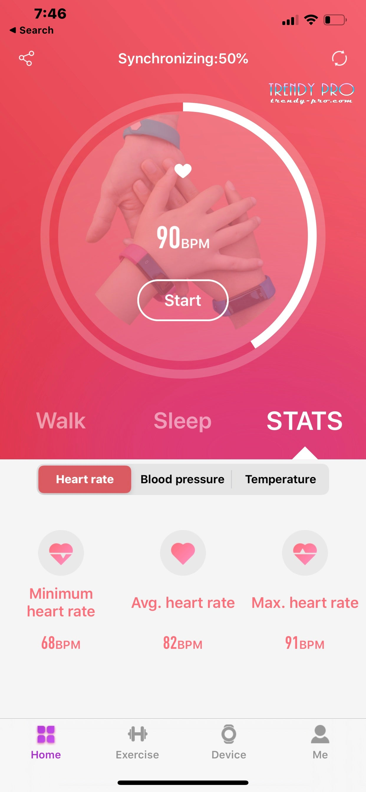 Heart Rate Blood Pressure Temperature Oxygen Tracking TRENDY PRP Fitness Tracker