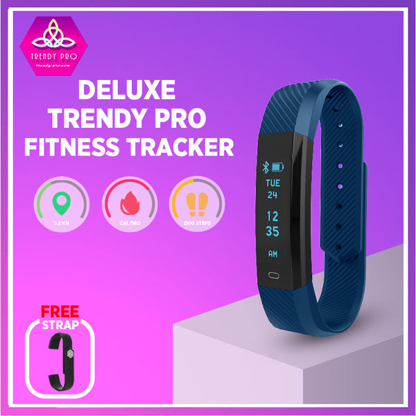 DELUXE Fitness Tracker, Extra Band in Blue