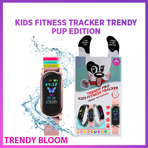 Kids Fitness Tracker Gold Watch for Kids - Temperature Oxygen HR Heart Rate Kids Activity Tracker GPS Step Tracker Digital Watch Alarm Waterproof Pedometer Child Girls Boy Teen (Pink Trendy Bloom)