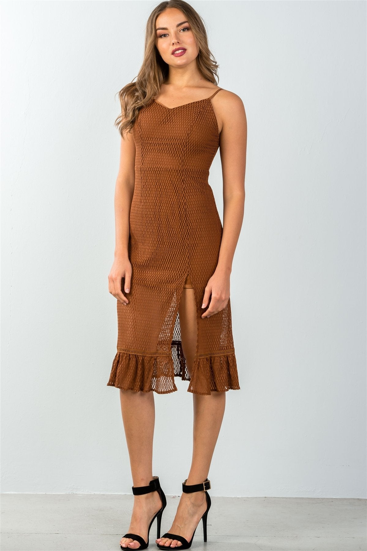 Sandy Dusty Brown Mesh Midi Dress