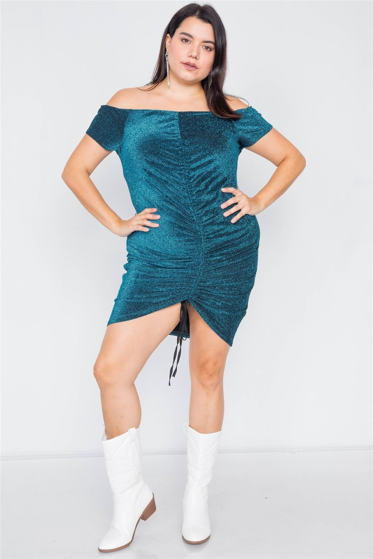 Plus Size Ruched Glitter Dress - Allures From Zenii