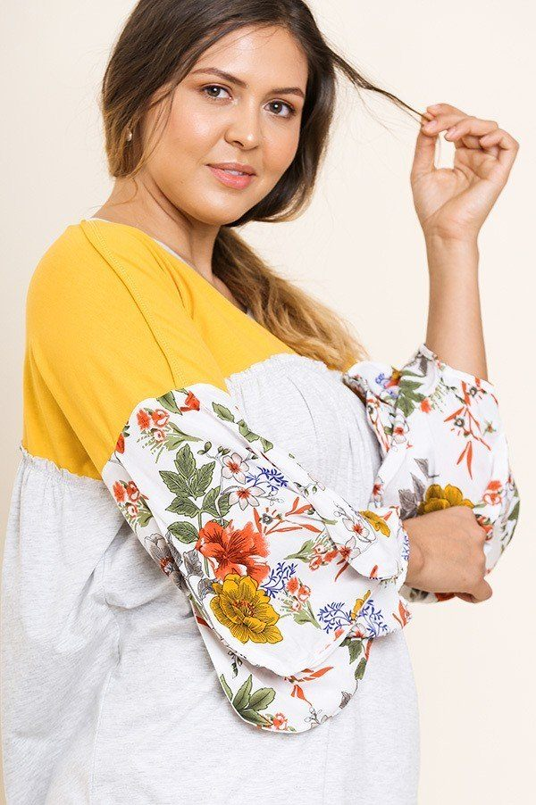 Floral Print Puff Sleeve Top - Allures From Zenii
