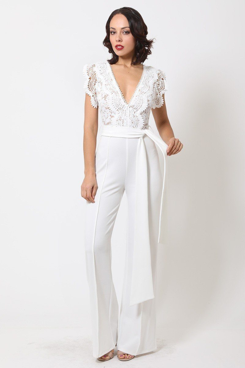 Deep V-neck Crotchet Detailed Jumpsuit - Allures From Zenii