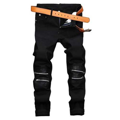 Men Zipper Patchwork Jean