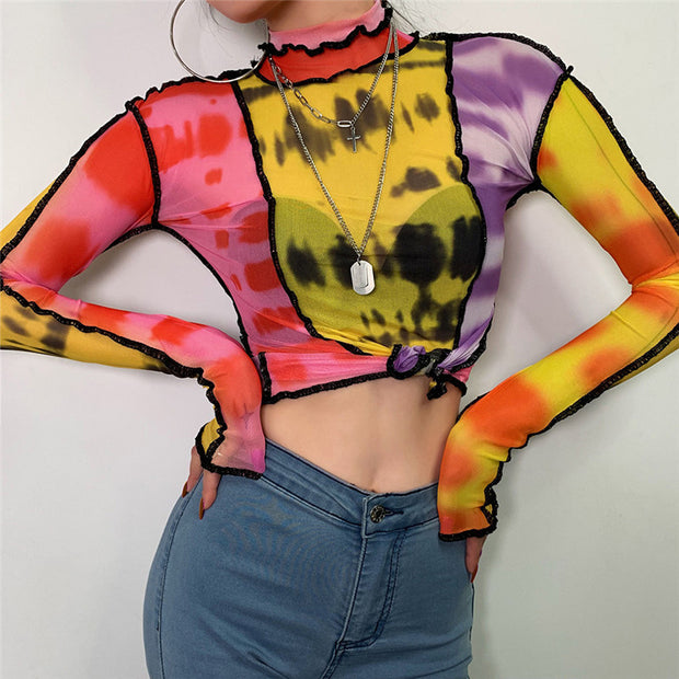 Hugh Tie Dye | Mesh Crop Top - Allures From Zenii