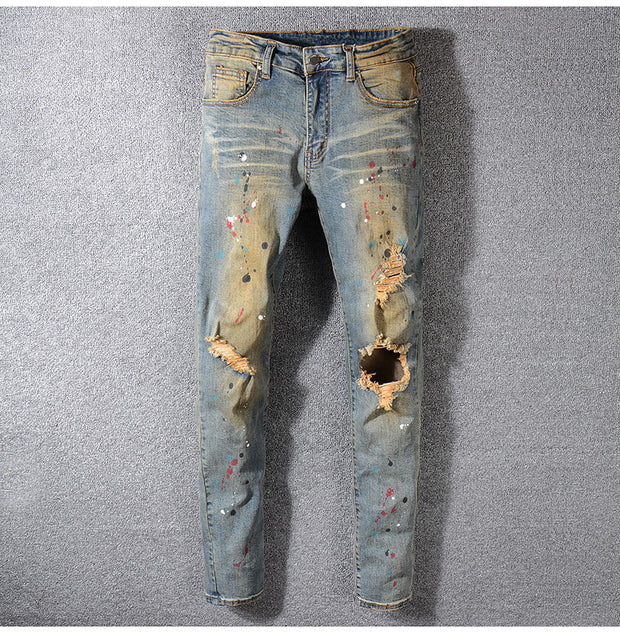 Men's Painted Ripped Jeans - Allures From Zenii