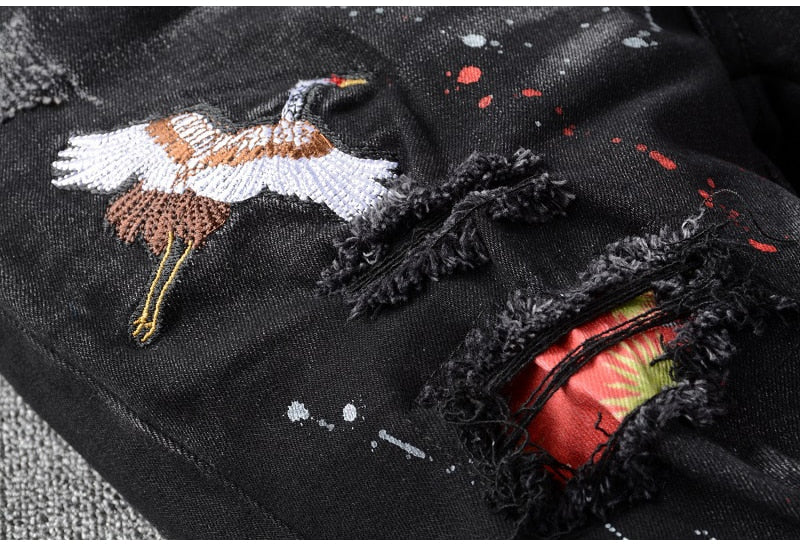 Men's Black Bird | Embroidered Jeans - Allures From Zenii