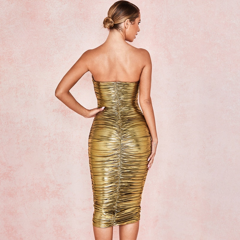 Gold Dust Ruched Dress - Allures From Zenii