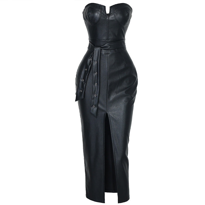 Leather Midi Tube Dress - Allures From Zenii