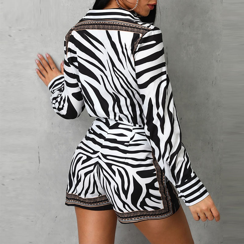 Zebra Print 2 Piece Short Set - Allures From Zenii