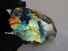 Blue and Orange Flash Half Polished Labradorite Piece - 79mm, 102g