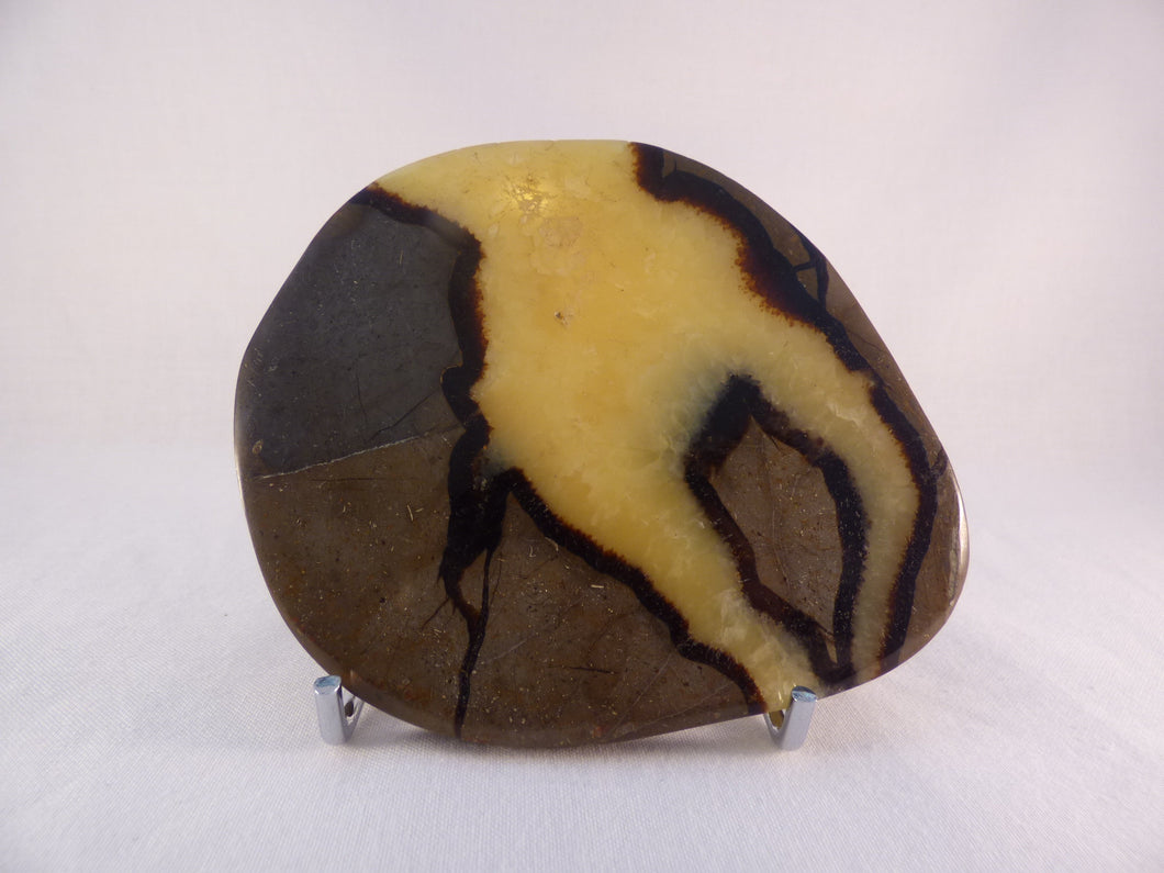 Polished Septarian Display Plate - 106mm, 155g