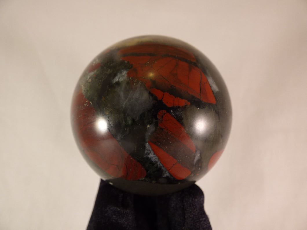 Seftonite African Bloodstone Sphere - 65mm, 380g