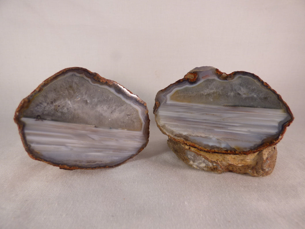 Polished Mozambique Agate Nodules Matching Pair - 597g