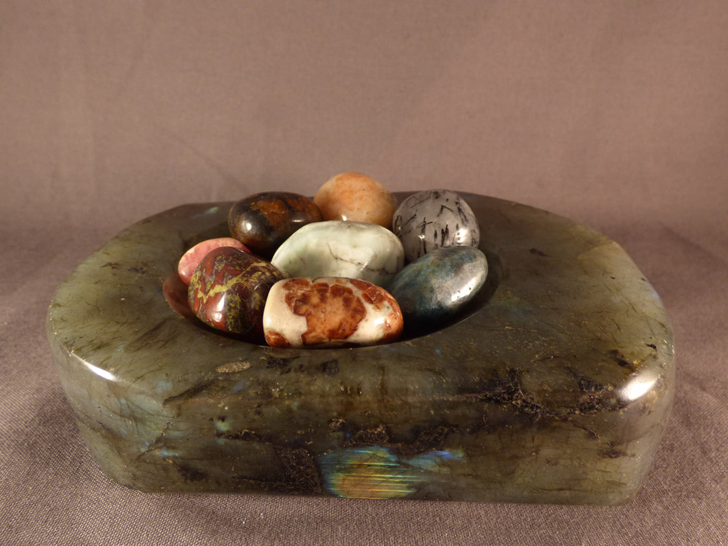 Polished Labradorite Bowl - 134mm, 853g
