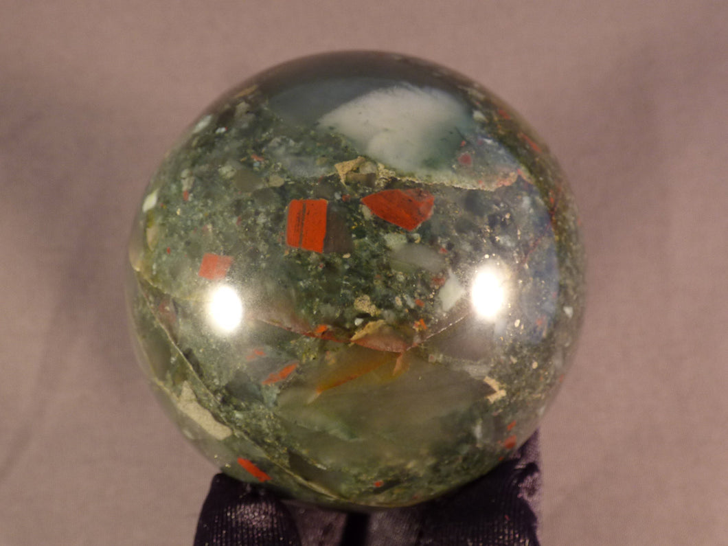 Seftonite African Bloodstone Sphere - 66mm, 400g