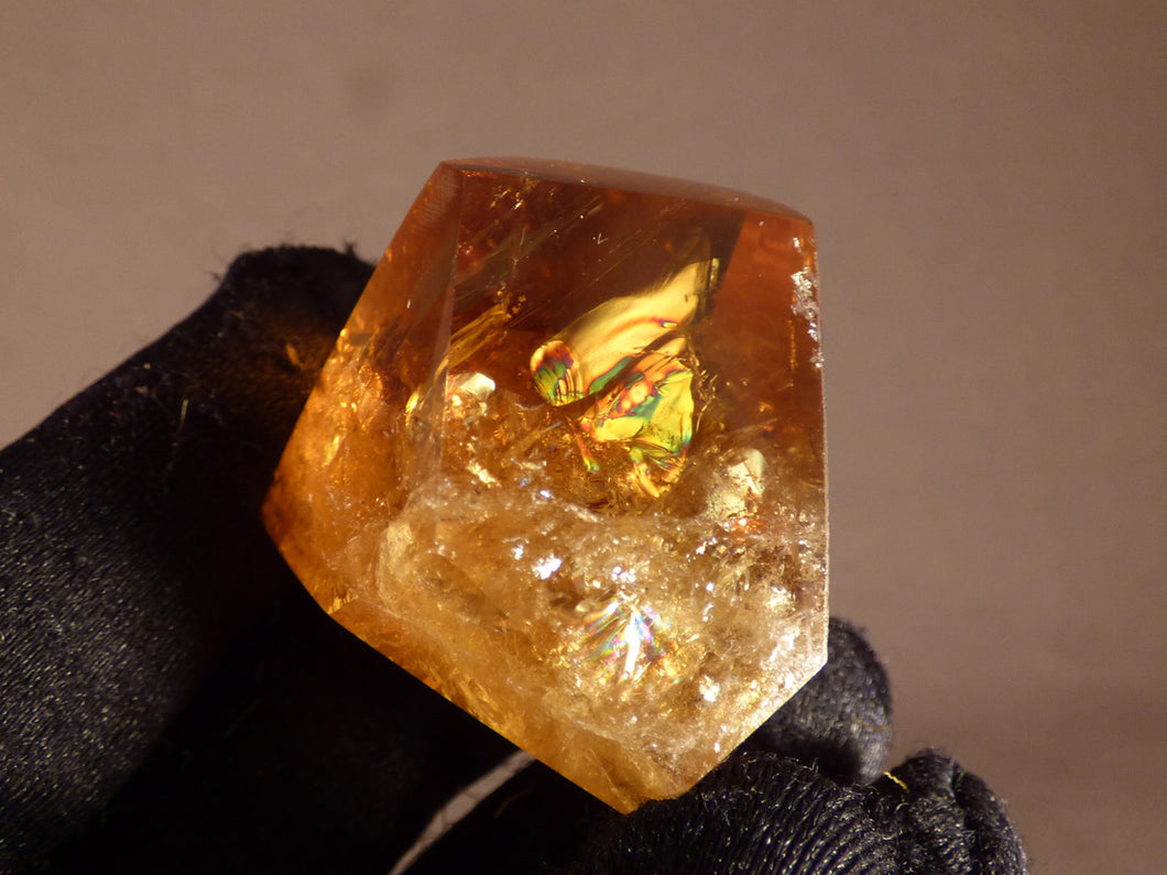 Polished Zambian Rainbow Citrine Standing Freeform Crystal - 35mm, 32g