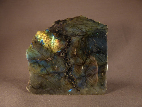 Madagascan Half Polished Labradorite Standing Piece - 125mm, 1079g