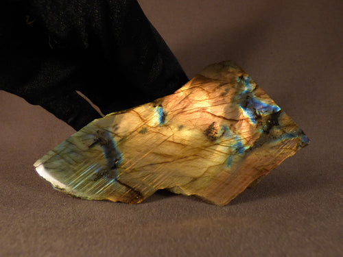 Madagascan Half Polished Labradorite Standing Piece - 108mm, 270g