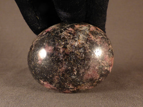 Madagascan Rhodonite Freeform Palm Stone  - 59mm, 184g