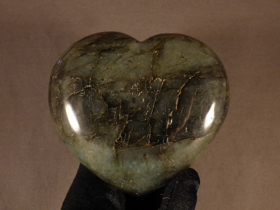 Polished Madagscan Labradorite Heart Carving - 102mm, 460g