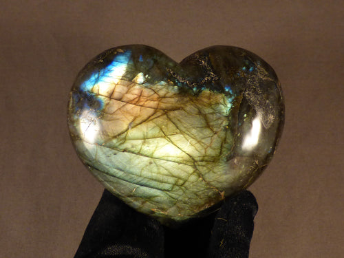 Polished Madagscan Labradorite Heart Carving - 98mm, 360g