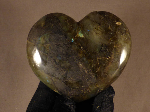 Polished Madagscan Labradorite Heart Carving - 85mm, 252g