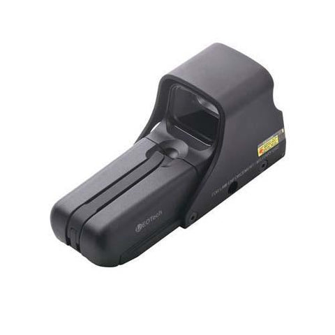 EOTech - AA battery; QD mount, units with buttons located on left side of unit,reticle pattern with 65 MOA ring and 1 MOA dot