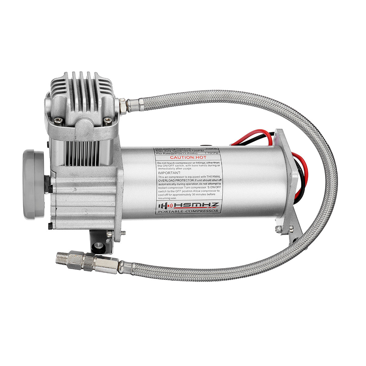 12V 200 PSI Silver Air Compressor 1/4'' Hose Set With Relays Switch For Car Truck Train Horns or Suspensions