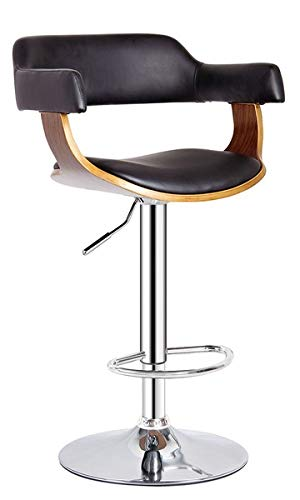 CastleGoods™ Black Contemporary Swivel Adjustable Barstool with Padded Armrests